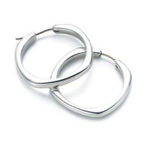 AUTHENTIC T&Co Silver Cushion Square Hoop Earrings